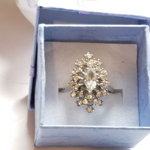 Cocktail Cluster Vintage Ring Elegant Marquise CZ